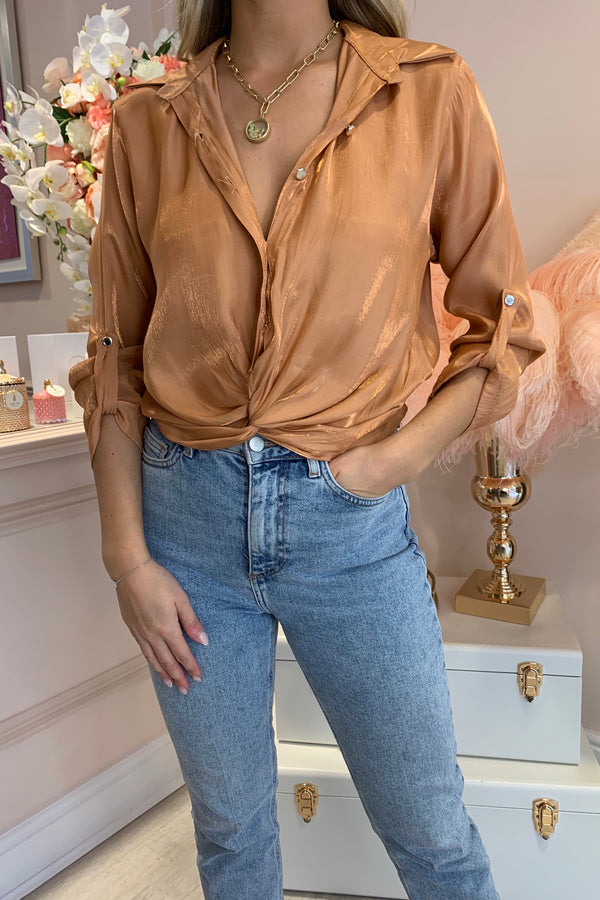 BURNT ORANGE SHIMMER BLOUSE