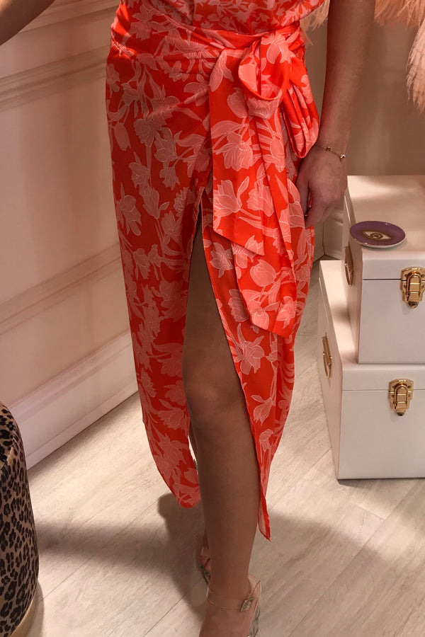BEAU FLORAL ORANGE TIE SIDE SKIRT