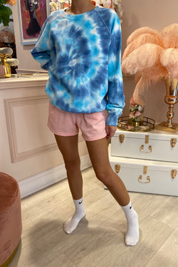 TYE DYE BLUE/TURQ ROUND NECK JUMPER