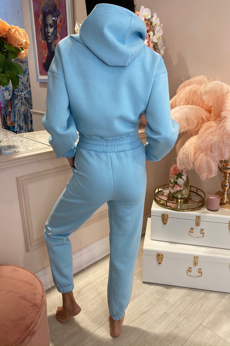LARA BLUE HOODED CROPPED LOUNGEWEAR SET