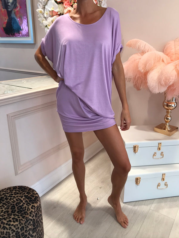 DRAPE OVERSIZED TEE DRESS PURPLE