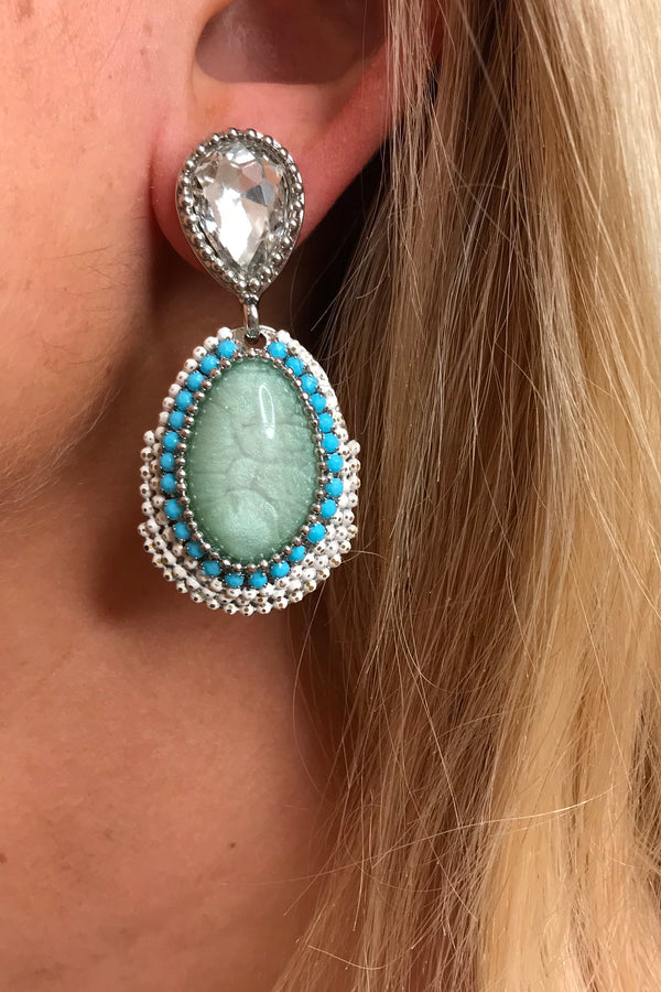 LOLA WHITE/BLUE BEADED EARRINGS