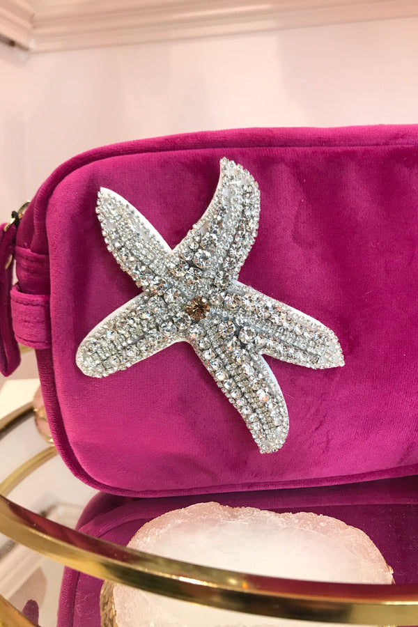 HOT PINK VELVET BAG WITH STARFISH BROCH