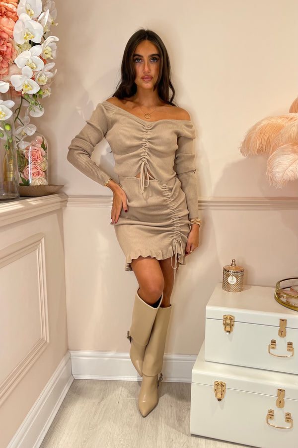 BEIGE RIBBED DRESS WITH RUCHED OPEN FRONT