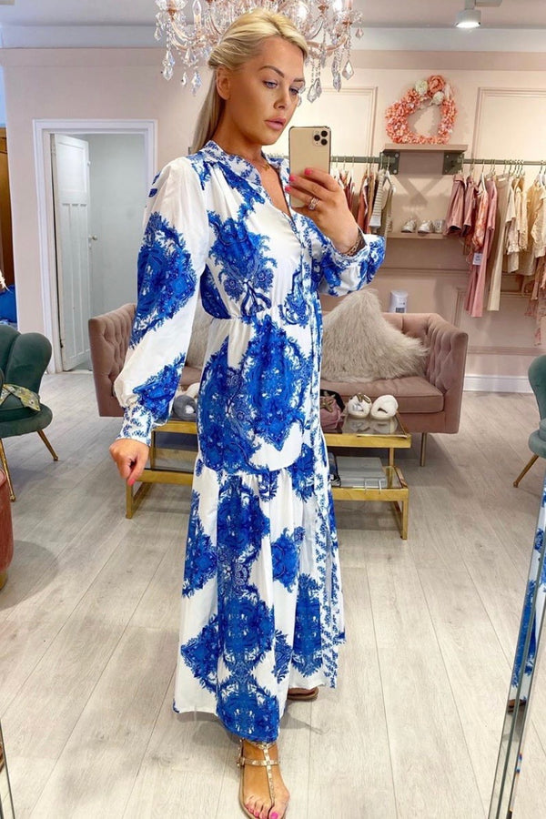 ANASTASIA BLUE/WHITE PRINTED MAXI DRESS