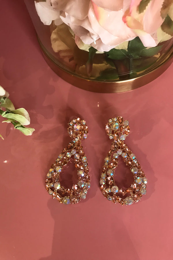 BLUSH PINK CRYSTAL GEM EARRINGS
