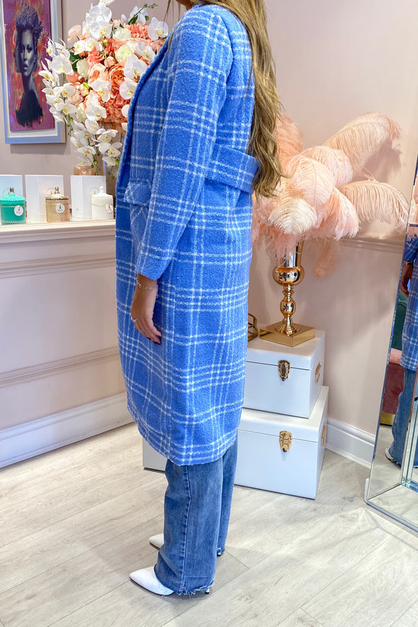 BLUE/WHITE CHECK OVERSIZED COAT