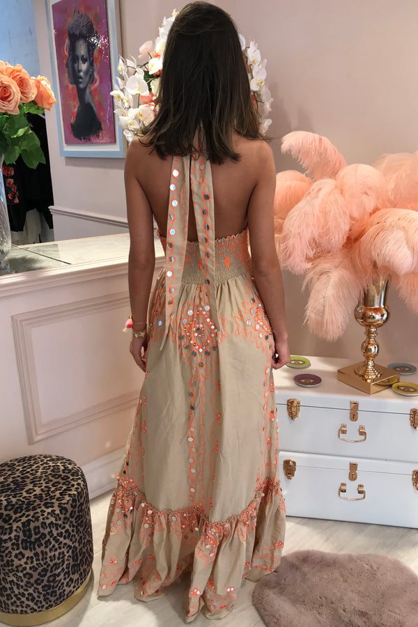 MIAMI BEIGE/ORANGE MIRROR MAXI DRESS