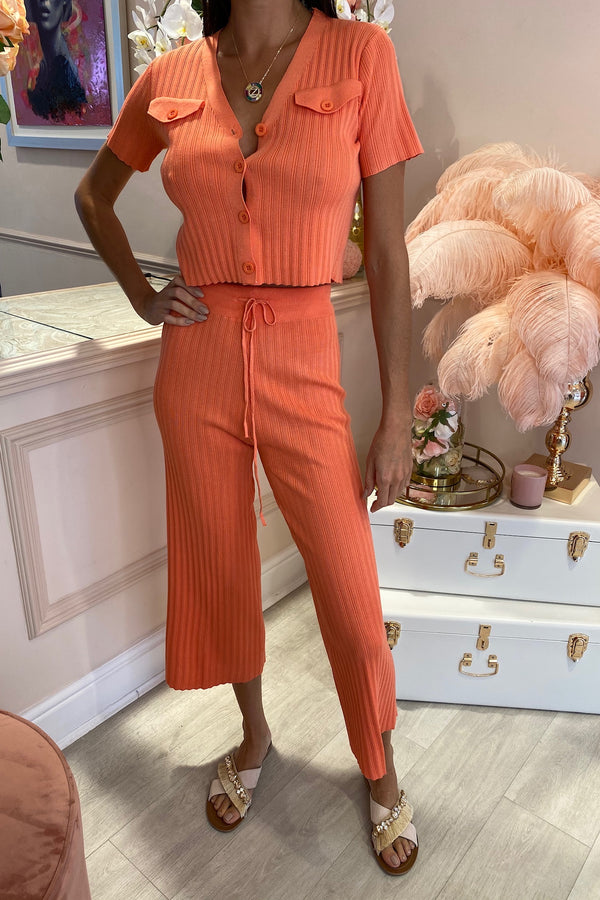 POLLY CORAL RIBBED CULOTTE MATCHING SET