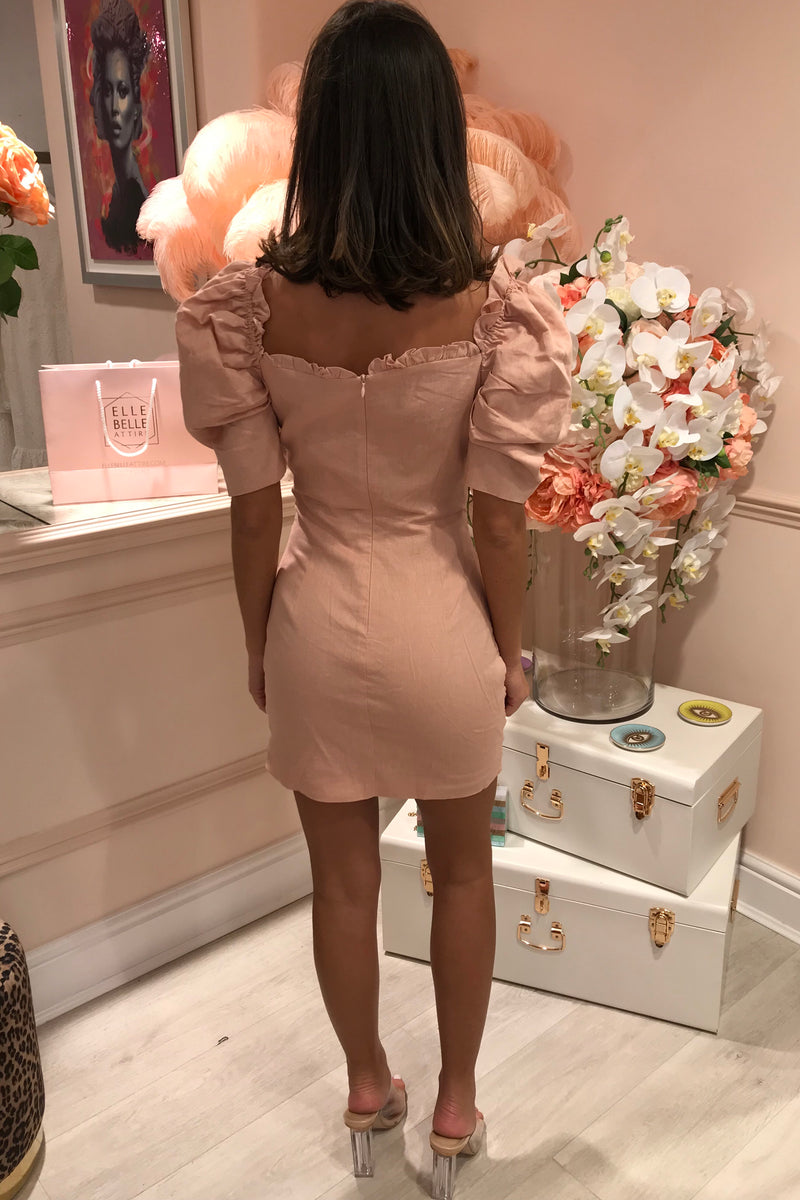 NUDE LINEN RUCHED MINI DRESS