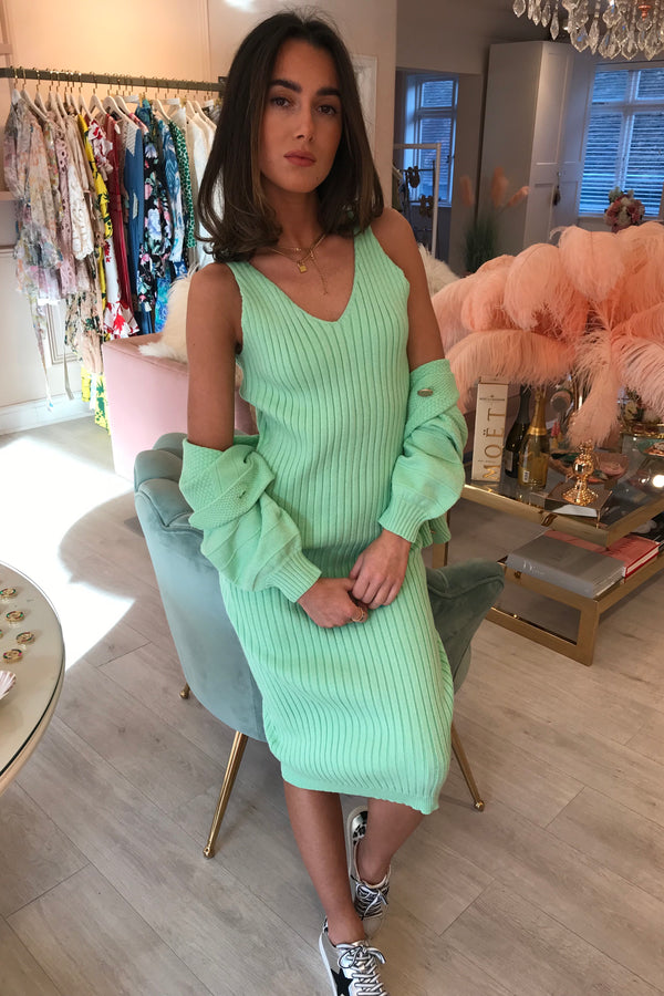 PASTEL GREEN MATCHING DRESS & CARDIGAN