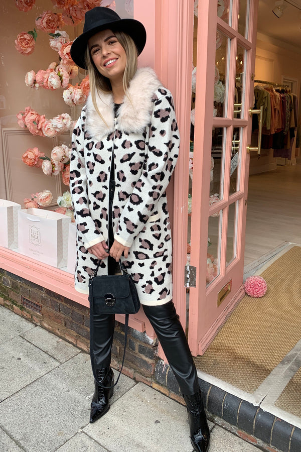 CREAM LEOPARD KNITTED CARDI WITH FAUX FUR COLLAR