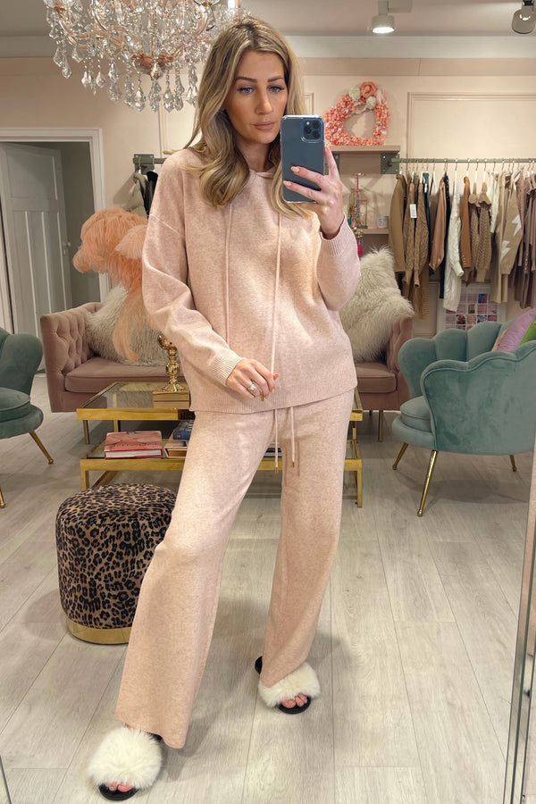 POLLY LIGHT PINK KNITTED HOODIE & FLARES SET