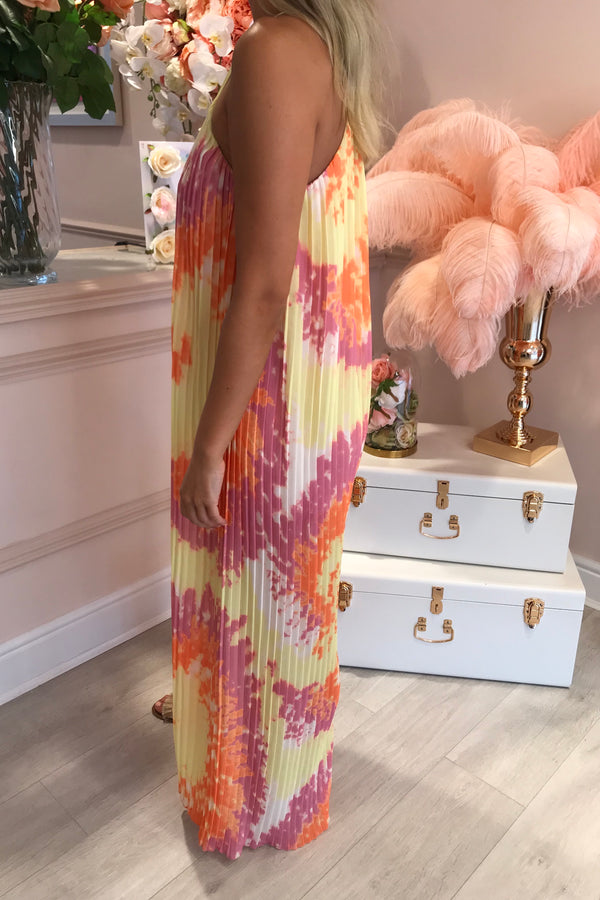 ORANGE/YELLOW/PINK PLEATED PALAZZO JUMPSUIT