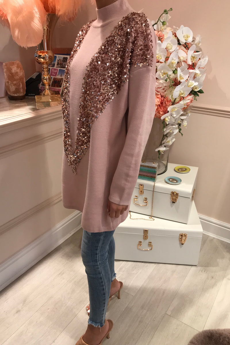 PINK/ROSE GOLD SEQUIN JUMPER