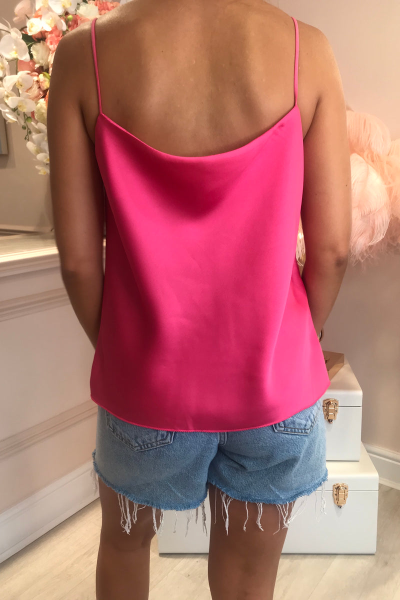 BRIGHT PINK SILKY COWL NECK CAMI