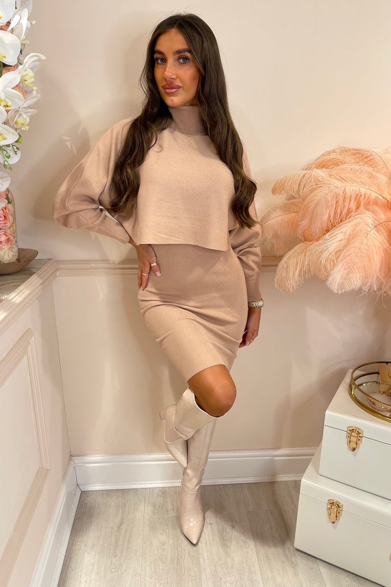 ISABELLA MOCHA KNIT DRESS WITH JUMPER OVERLAY