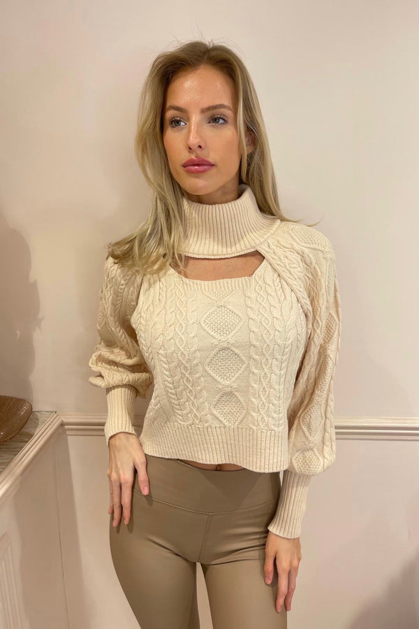 LIANA BEIGE CABLE KNIT JUMPER