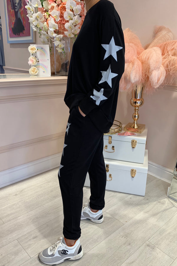 STAR SLEEVE TRACK SUIT BLACK