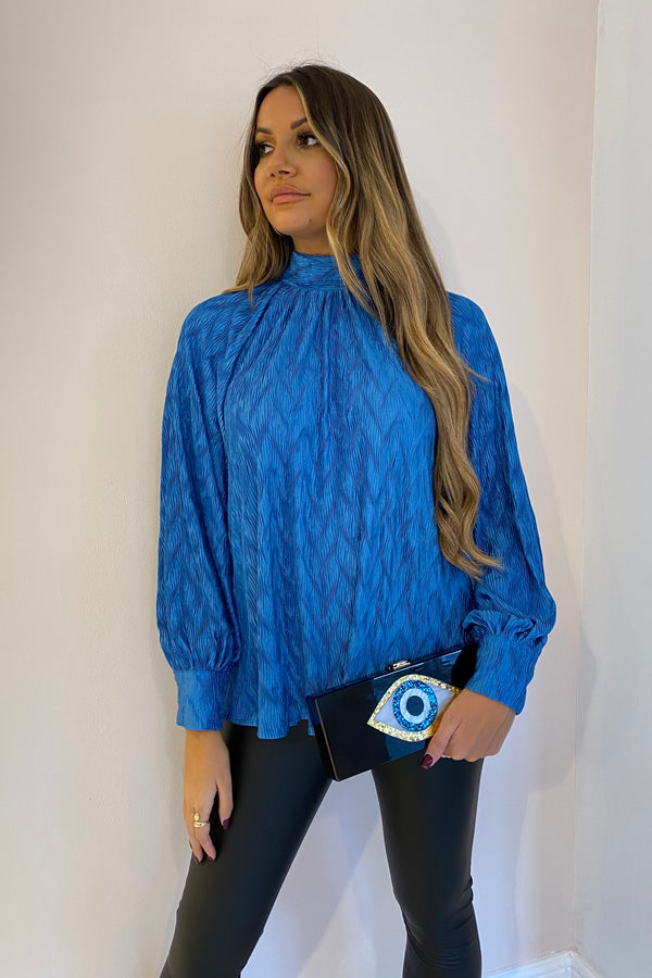 BLUE PLISSE BOW BLOUSE
