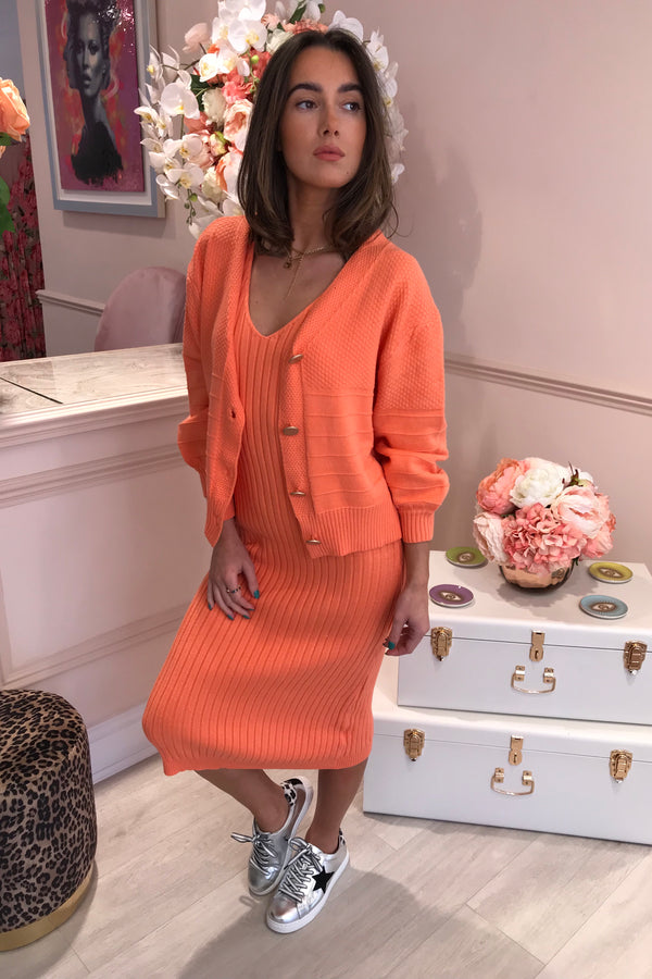 CORAL MATCHING DRESS & CARDIGAN