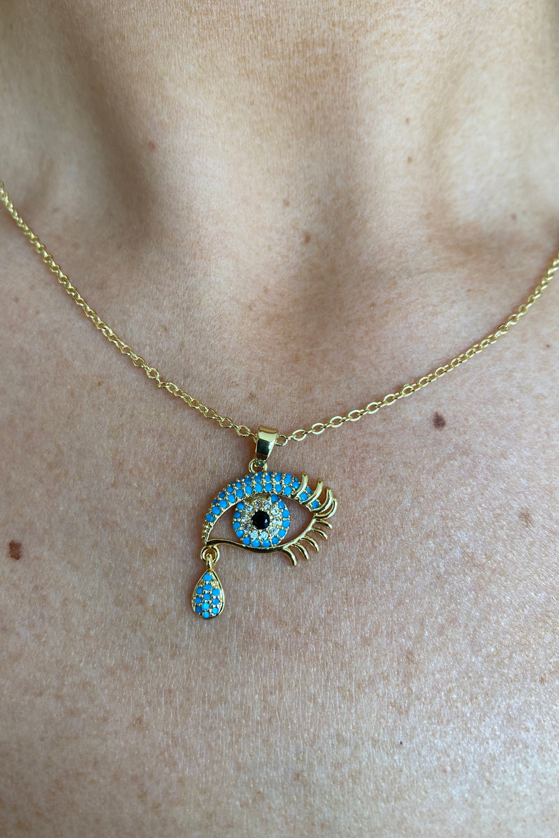 TURQUOISE TEAR EVIL EYE NECKLACE