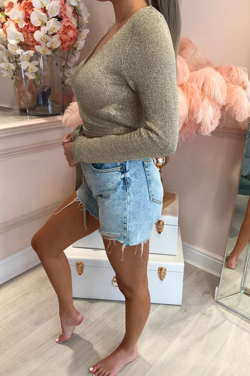 GOLDEN KNITTED WRAP TOP