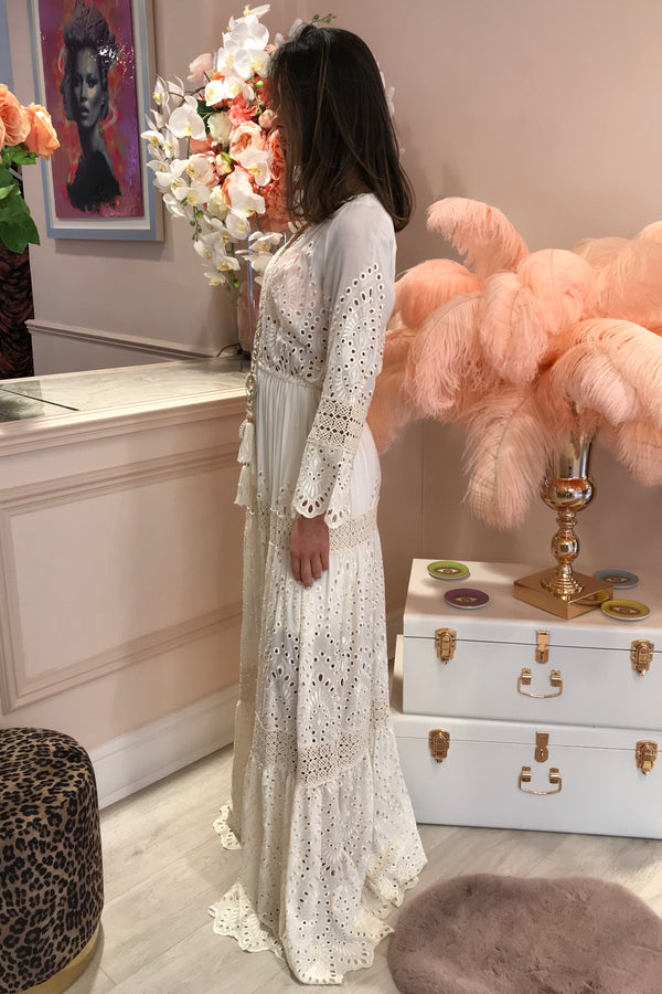 CREAM LONG SLEEVE EMBROIDERED MAXI DRESS