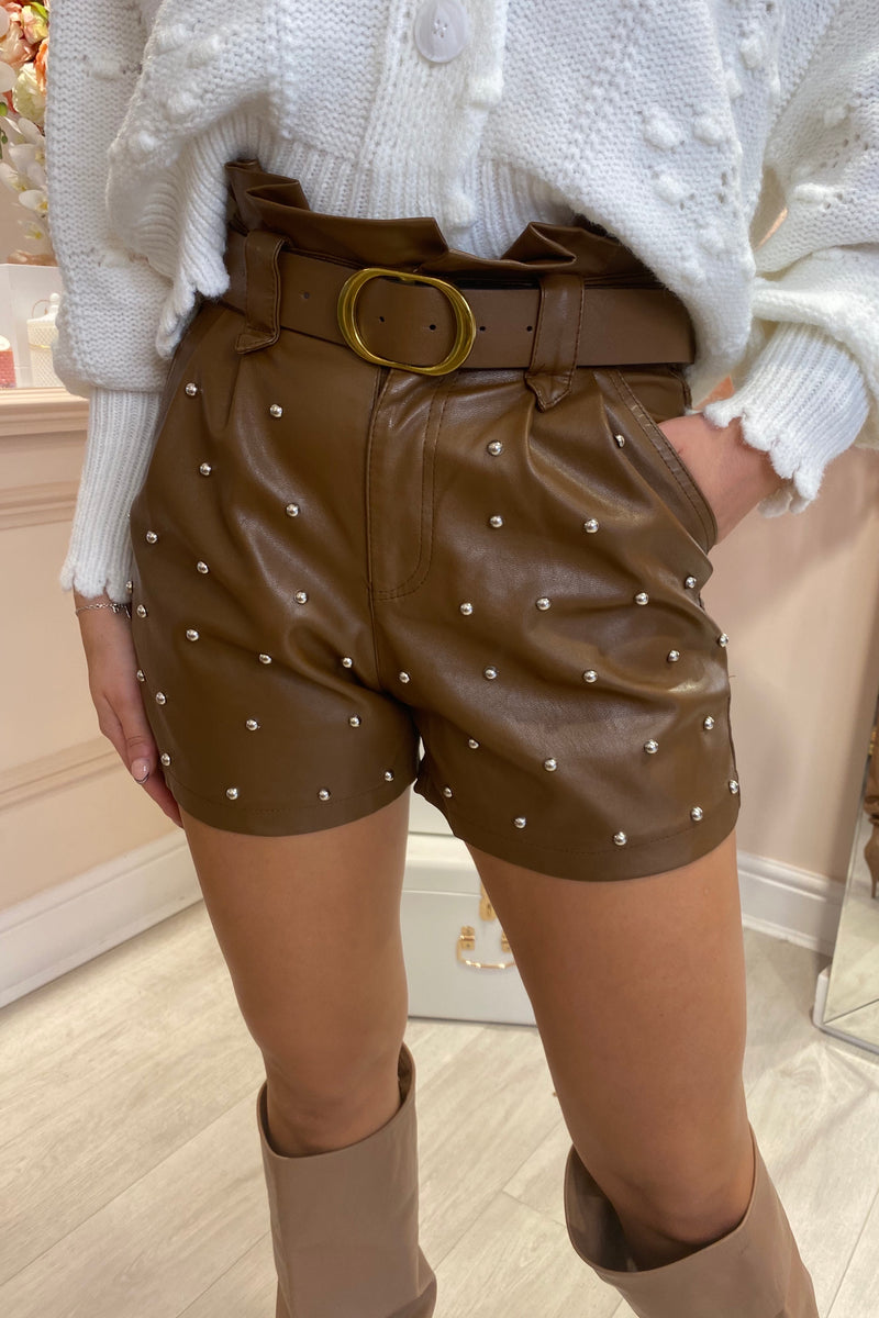 BROWN FAUX LEATHER STUDDED SHORTS