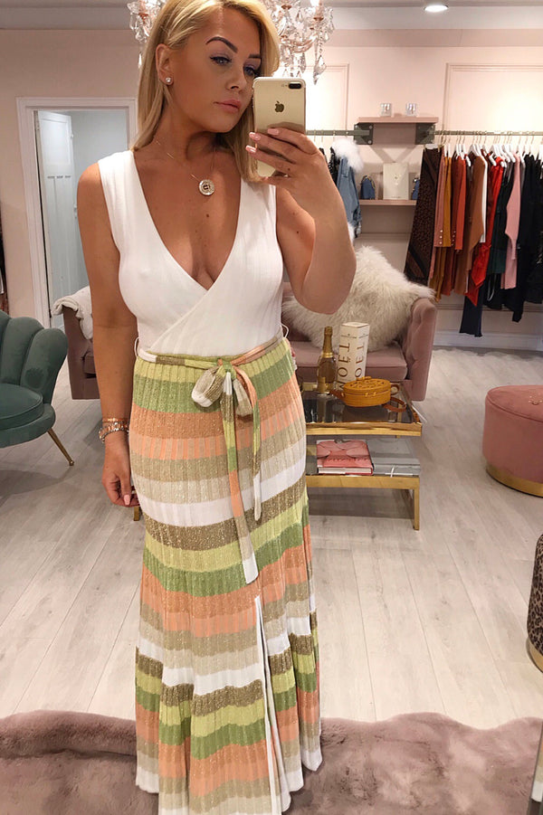 RUTH EROTOKRITOU WHITE/PEACH STRIPE MIDI DRESS