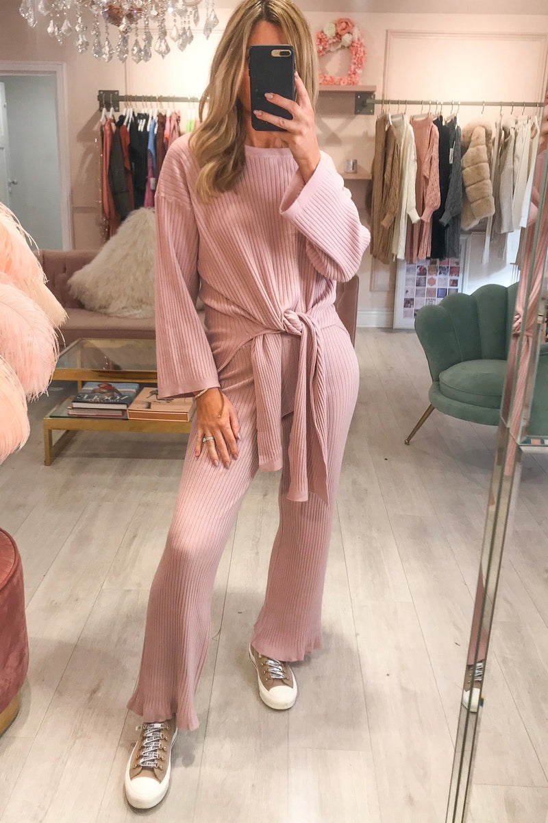 Pink Ribbed Tie Up Tracksuit
