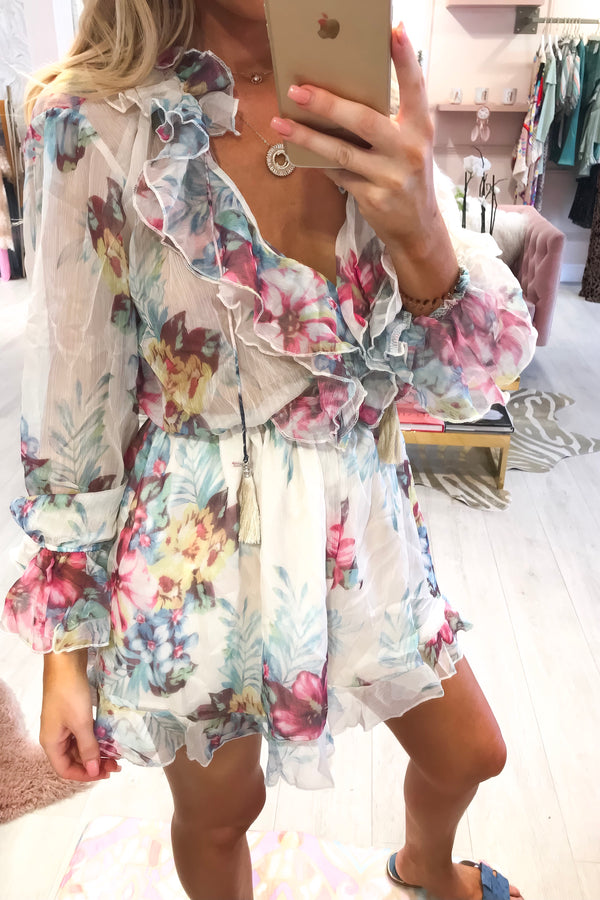 ORLA FLORAL BERRY/MULTI RUFFLE PLAYSUIT