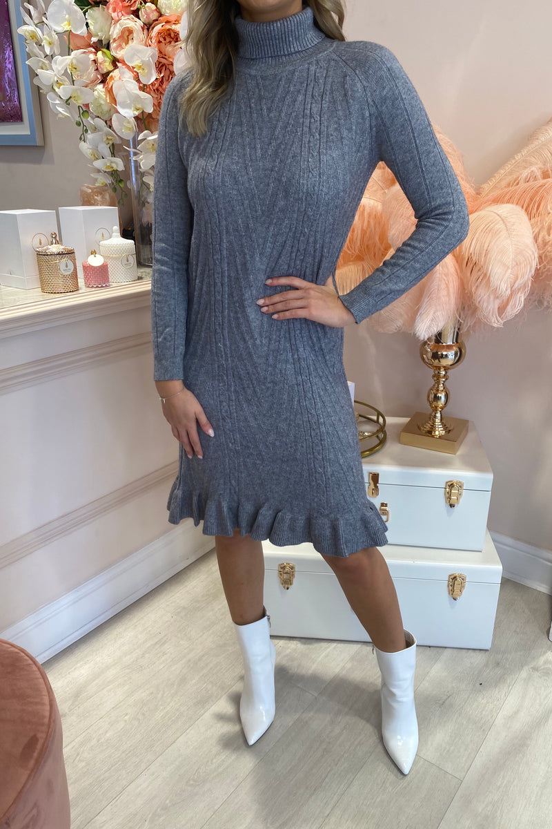 GREY CABLE KNIT MIDI DRESS WITH FRILL HEM