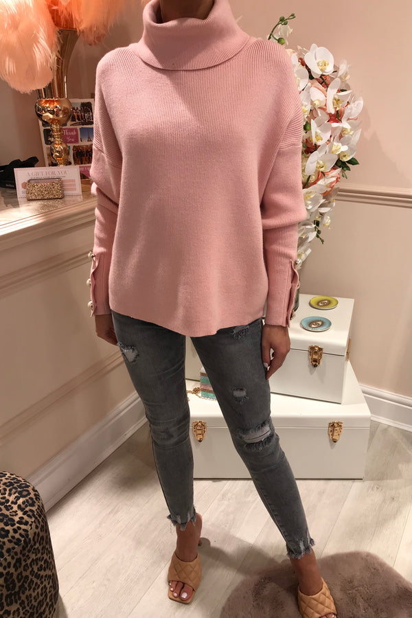 LIGHT PINK JUMPER WITH PEARL CUFF DETAIL