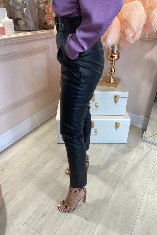 BLACK FAUX LEATHER TROUSER WITH BELT