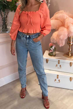 PEACH OFF SHOULDER PUFF SLEEVE CROP TOP