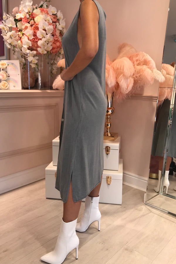 SIMMI GREY KNITTED BUTTON DOWN MIDI DRESS