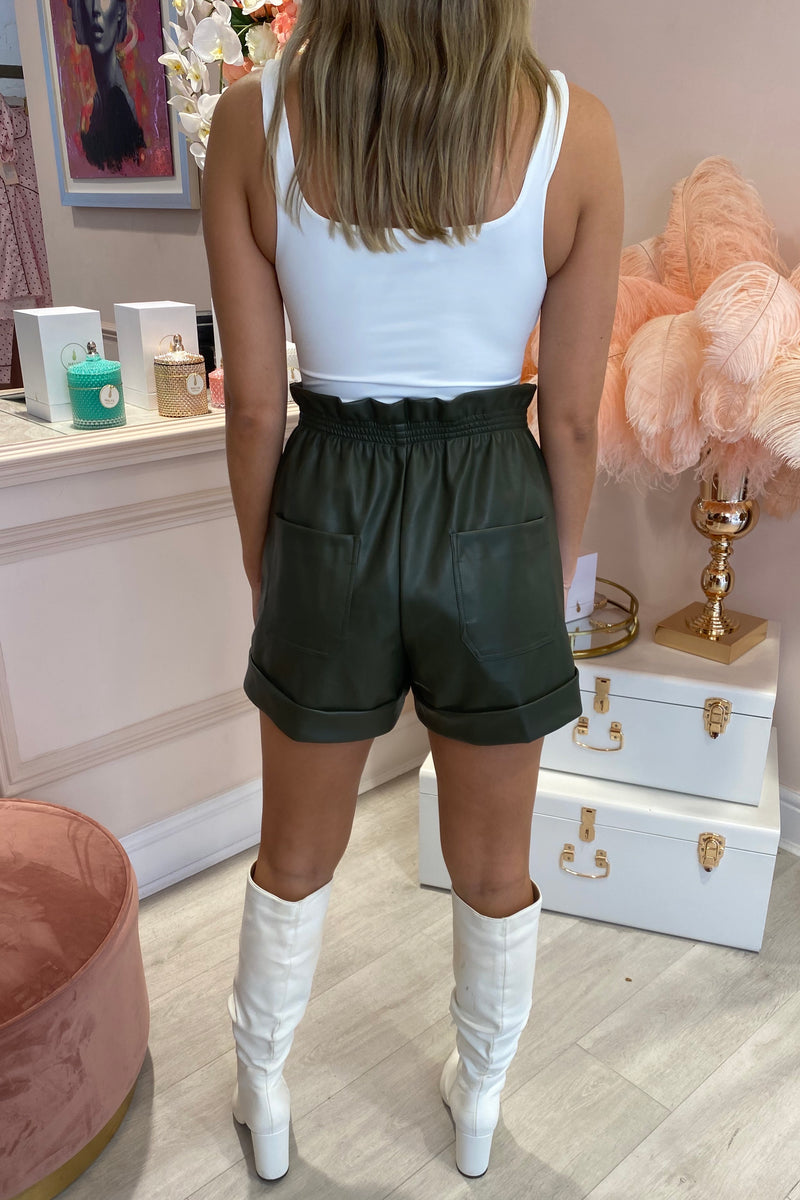 KHAKI ELASTICATED WAISTBAND FAUX LEATHER SHORTS
