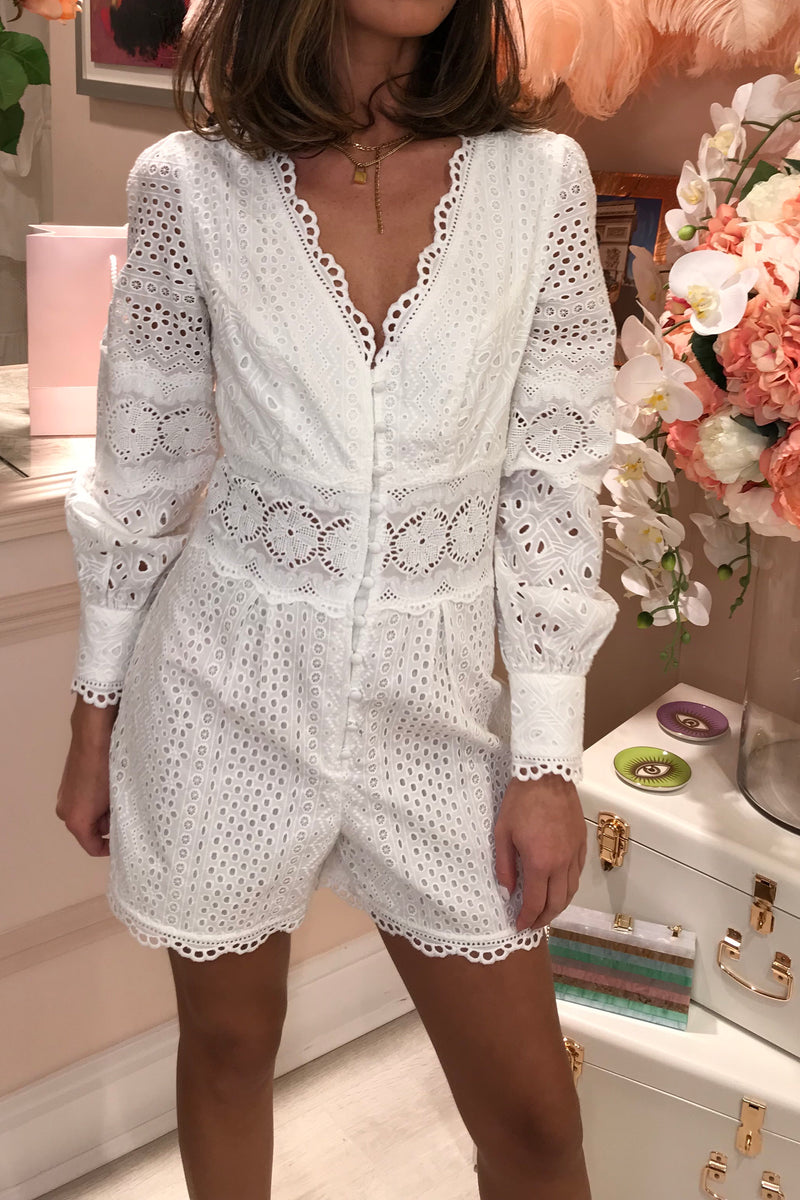 TD WHITE EMBROIDERED BUTTON FRONT PLAYSUIT