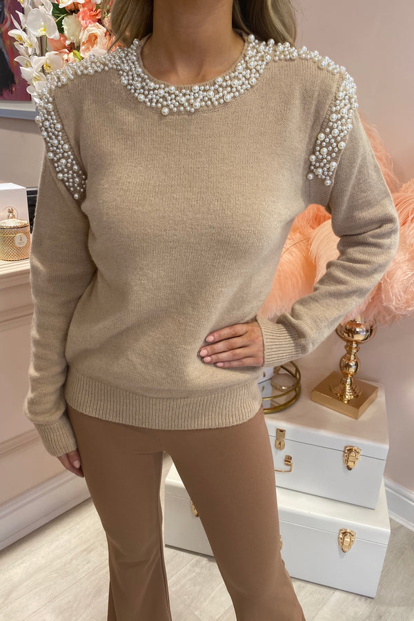BEIGE PEARL NECKLINE & SHOULDER DETAILED JUMPER