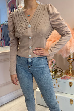 MELISSA DIAMANTE BUTTON FRONT BLOUSE BEIGE
