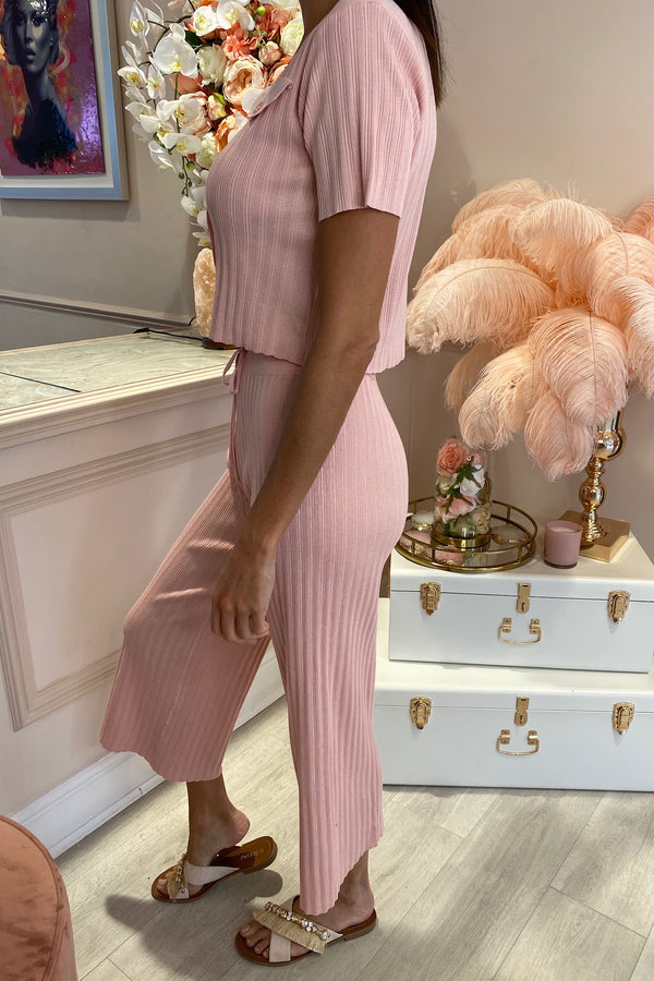 POLLY PINK RIBBED CULOTTE MATCHING SET