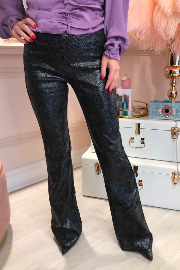 BLACK SNAKE EFFECT FLARED TROUSERS