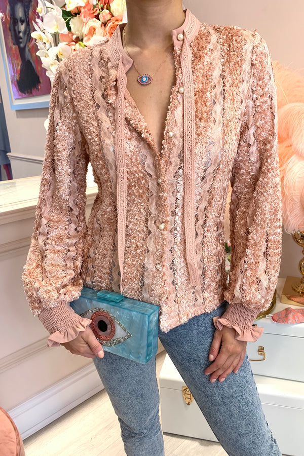 HARPER LIGHT PINK LACE BLOUSE WITH PEARL BUTTONS