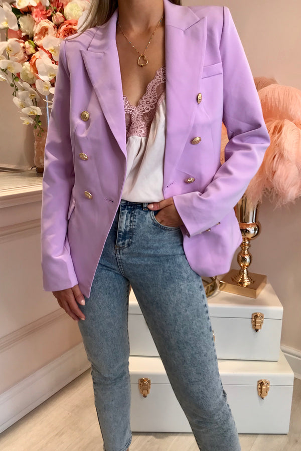 LILAC GOLD BUTTON BLAZER