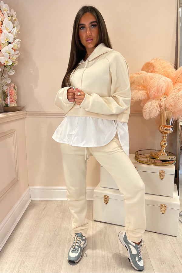 CREAM HOODIE WITH SHIRT UNDERLAY SET