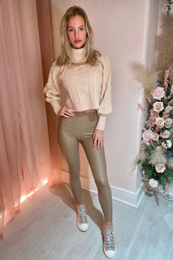 LINA BEIGE LEATHERETTE HIGH WAIST LEGGINGS