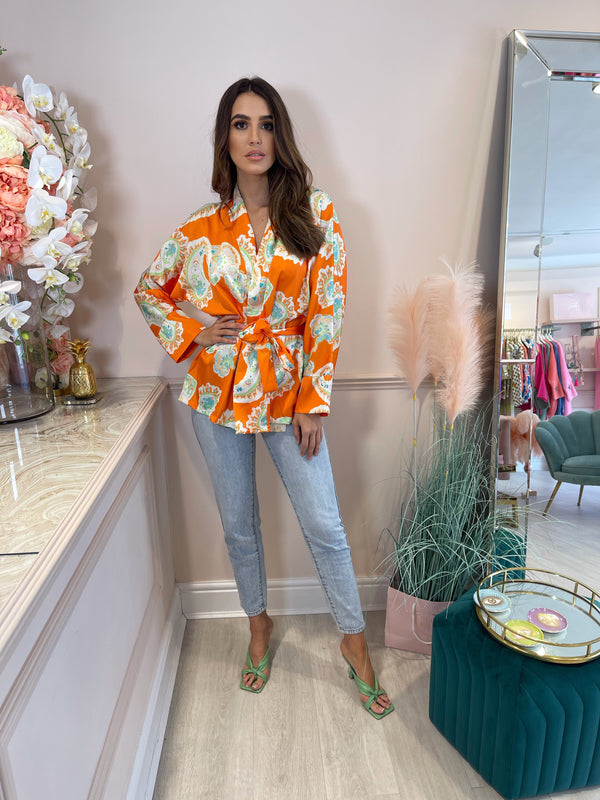 LEILA ORANGE PRINTED TIE UP SHIRT