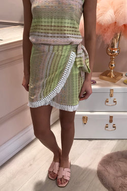 RUTH EROTOKRITOU TASSEL MINT/GOLD SKIRT