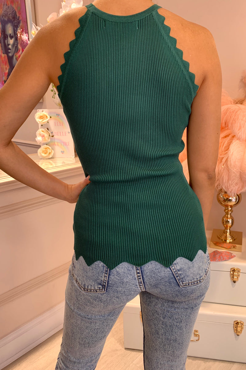 GREEN CHEVRON SLEEVE KNITTED CAMI